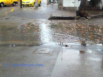 street in old town of Puerto Vallarta, after the rain