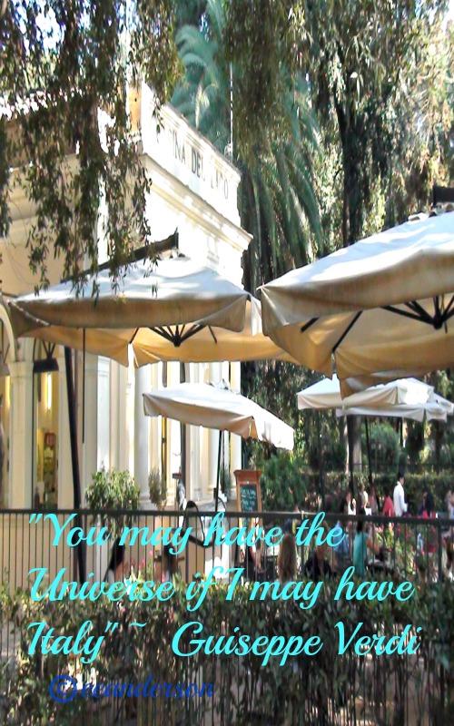 cafe in Villa Borghese park, Rome, Italy