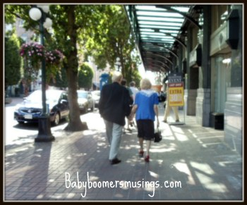 A couple having a Sunday stroll in Victoria, B.C.Canada
