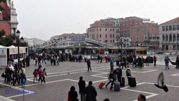 Venice, outside Santa Lucia train staion with suitcases